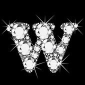 Letter W with diamonds bling bling — Stock Vector