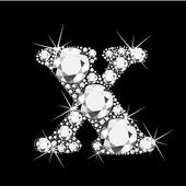 Letter X with diamonds bling bling — Stock Vector