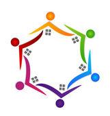 Real estate teamwork logo vector — Stock Vector