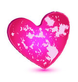 Pink grunge heart vector icon — Stock Vector