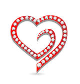 Heart with diamonds symbol vector — Vector de stock