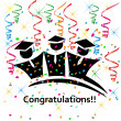 Graduates congratulations celebrations icon vector — Stock Vector
