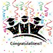 Graduates congratulations celebrations icon vector — Stock Vector #35353361