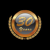 Vector of gold laurel wreath 30th years — Vector de stock