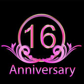 16th anniversary celebration background vector — Vector de stock