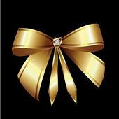 Vector of gold ribbon with diamond — 图库矢量图片