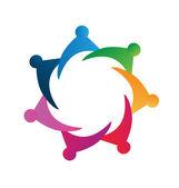 Teamwork colorful people logo vector — Stock Vector