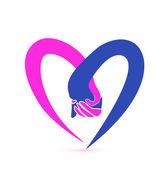 Couple holding hands logo vector — Stock Vector