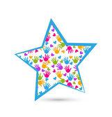 Star with children hands logo vector — Stock Vector