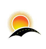 Vetor de estrada e o design de logotipo do sol — Vetorial Stock
