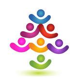 Tree teamwork colorful social logo vector — Stock Vector