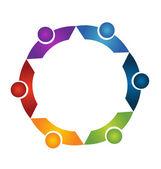 Teamwork people in a hug logo vector — Stock Vector