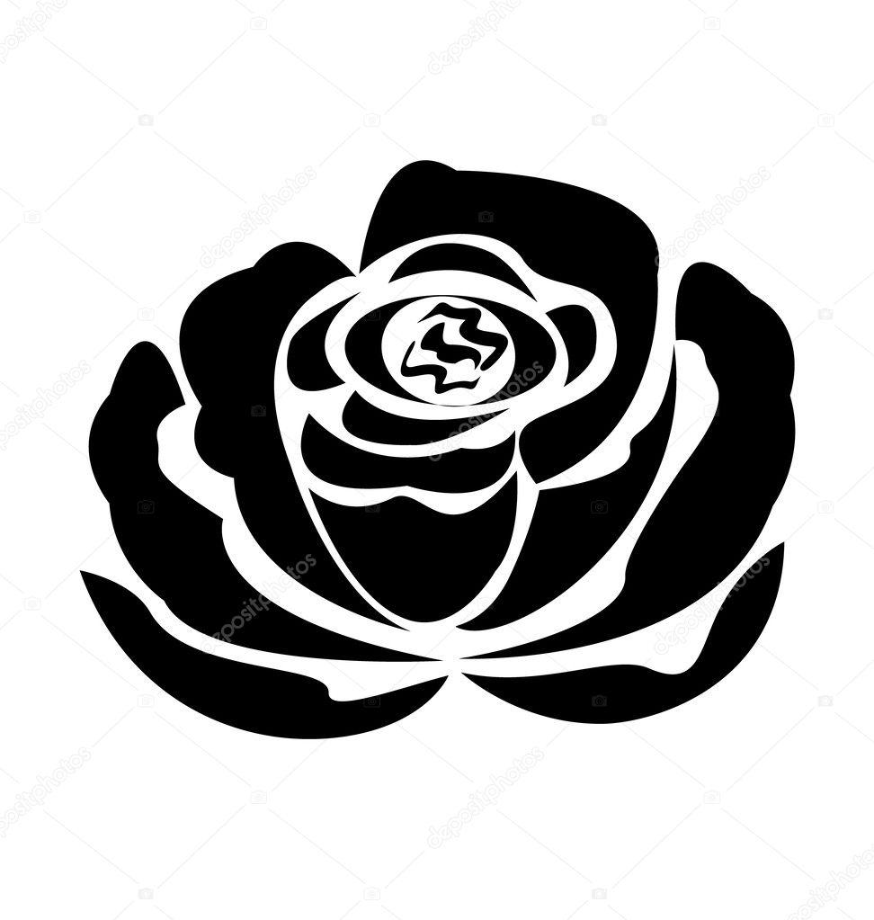 Vector zwarte roos sil...