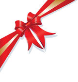 Christmas gift red and gold ribbon — Wektor stockowy