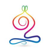 Yoga men stylized rainbow logo — Stock Vector