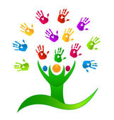 Vector Tree people with colored hands logo — Stock Vector