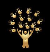 Vector de árbol personas y manos insignia oro — Vector de stock
