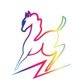 Beauty horse rainbow color logo — Stock Vector