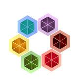 Abstract hexagonal shape creative icon logo — Stock Vector