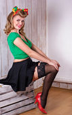 Pin up girl smiling — Stock Photo