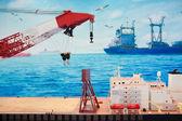 Model lodi na moři těžba ropy — Stock fotografie