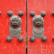 Red wooden door on animal — Stock Photo #13171987