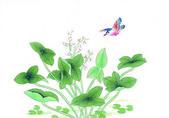 çin'in geleneksel çin resim, çiçekler ve kuşlar — Stok fotoğraf
