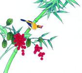 Китай в традиционной китайской живописи, цветы и птицы — Стоковое фото