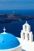 Blue Dome Church Santorini Greece — Stock Photo