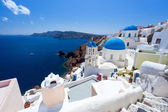Blue Dome Churches Oia Santorini — Stock Photo