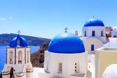 Blue Dome Churches Oia Santorini — Stock Photo