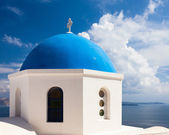 Blue domed church Oia Santorini Greece — Stock Photo