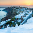 sunset over oia santorini — Stock Photo