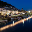 Looe Harbour at Night Cornwall England — Stock Photo