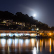 Looe Harbour at Night Cornwall England — Foto Stock