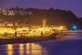 Teignmouth at night Devon England — Stock Photo