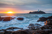 Sunset at Godrevy Cornwall England — Stock Photo