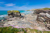 Cornish Coastline at Trevelgue Head — Stock Photo