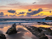 Sunset at Bude Cornwall — Stock Photo