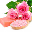 Roses, soap and sea salt — Stock Photo