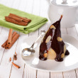 Stock Photo: Pear with chocolate sauce