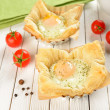 Scrambled Eggs in Puff Pastry — Stock Photo