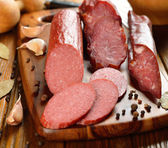 Sausage and spices — Stock Photo