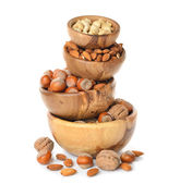 Nuts in a wooden bowl — Stock Photo