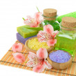 Sesalt, soap and flowers — Stockfoto #22727367
