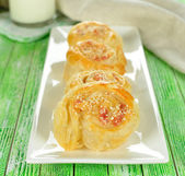 Puff pastry rolls with cheese — Stock Photo