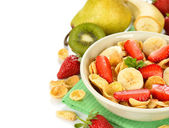Cornflakes with fruits — Stock Photo
