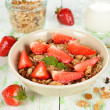 Stock Photo: Granolfor strawberries