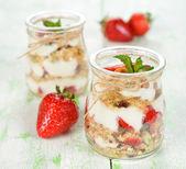 Dessert with yogurt and granola — Stock Photo