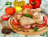 Raw chicken and vegetables — Stock Photo